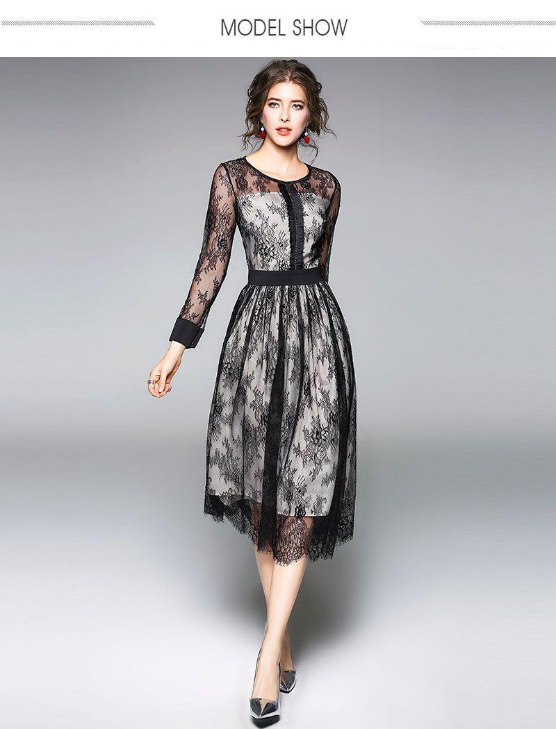 576c28a1f92 Borisovich Luxury Black Lace Women Dress New Arrival 2018 Spring Fashion O  neck Elegant Slim Ladies