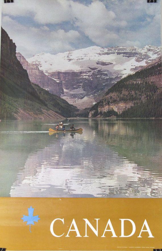 Original Vintage Canada Canoe Travel Tourism Poster by HodesH ...