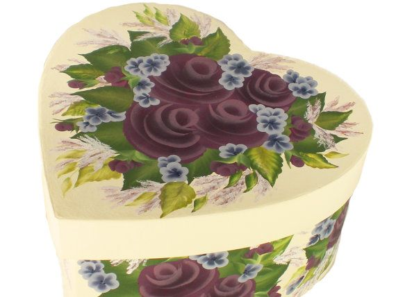Hand Painted Hat Box  Purple Roses on Antique by HandPaintedPetals, $46.50 www.handpaintedpetals.etsy.com #painted #hatbox #weddingcardbox