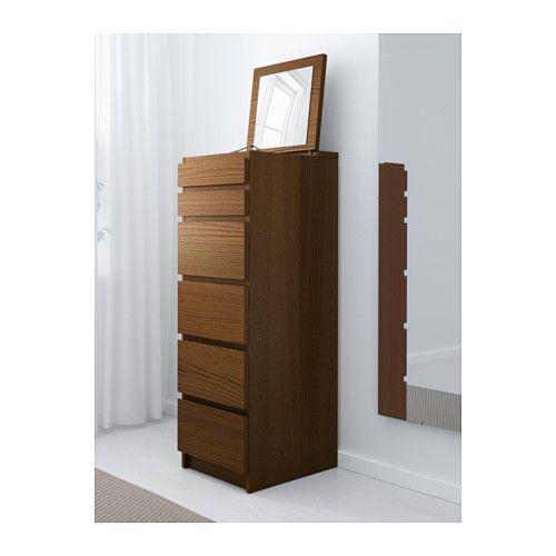 MALM Ladekast met 6 lades - bruin gelazuurd essenfineer/spiegelglas - IKEA