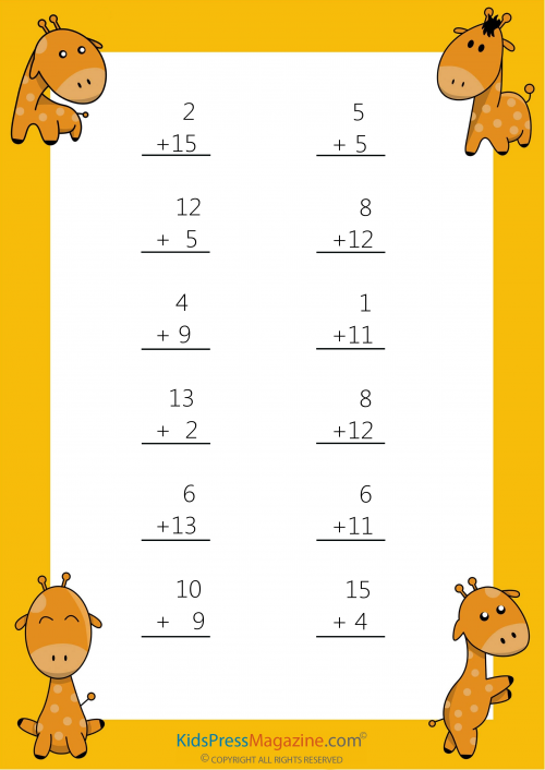 Easy Sums Add to 20 Worksheet 6 Worksheets, 1st