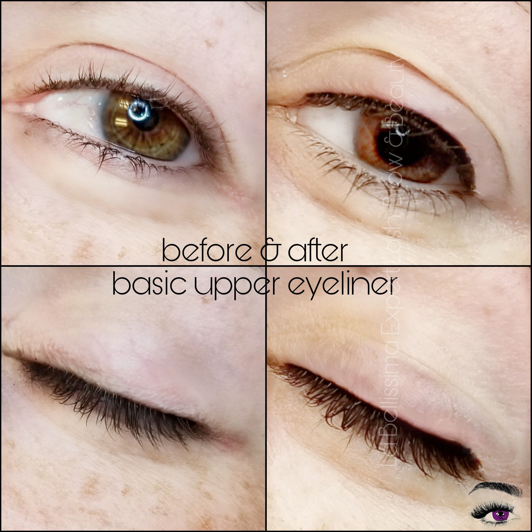 Basic Upper Eyeliner Before After No Flick Or Tail Because When In An Upright Position This Client S Eyelids Permanent Eyeliner Permanent Makeup Eyeliner