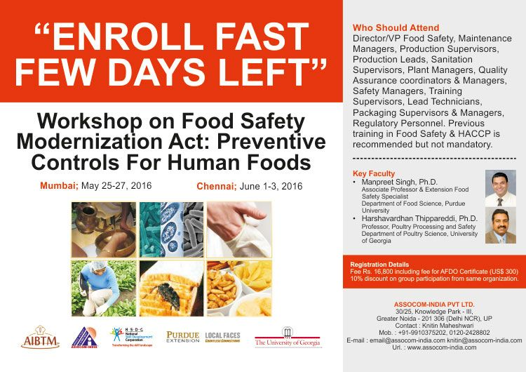 Assocom India Organizing Workshop On Food Safety Modernization Act Preventive Controls For Human Foods For Mo Workshop Organization Workshop Short Courses