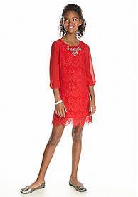 Sequin Hearts Embellished Lace Shift Dress Girls 7-16
