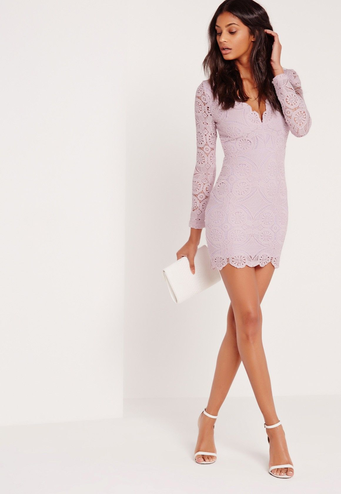 Missguided - Lace Long Sleeve Bodycon Dress Lilac  c63dda1a00d8