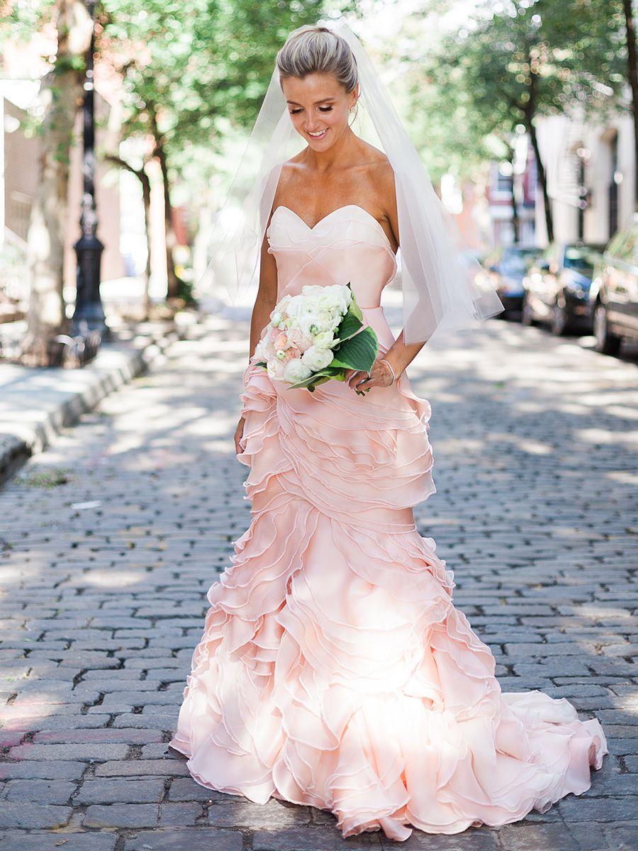 Strapless blush pink wedding gown by Leanne Marshall | Wedding ...