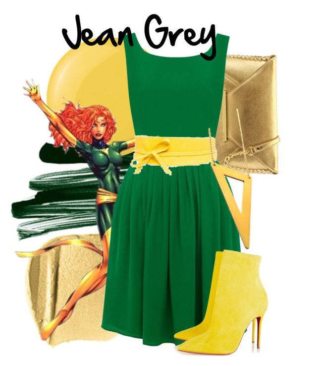 Jean Grey by amarie104 on Polyvore featuring polyvore мода style Oasis Christian Louboutin Nine West Shiseido Stila Deborah Lippmann Religion Clothing fashion clothing