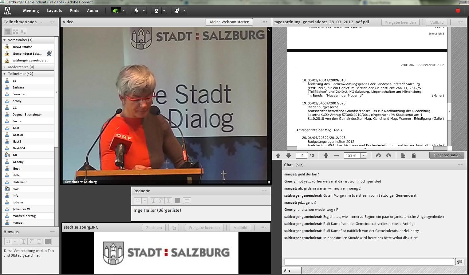 Live Ubertragung Gemeinderat Der Stadt Salzburg Marz