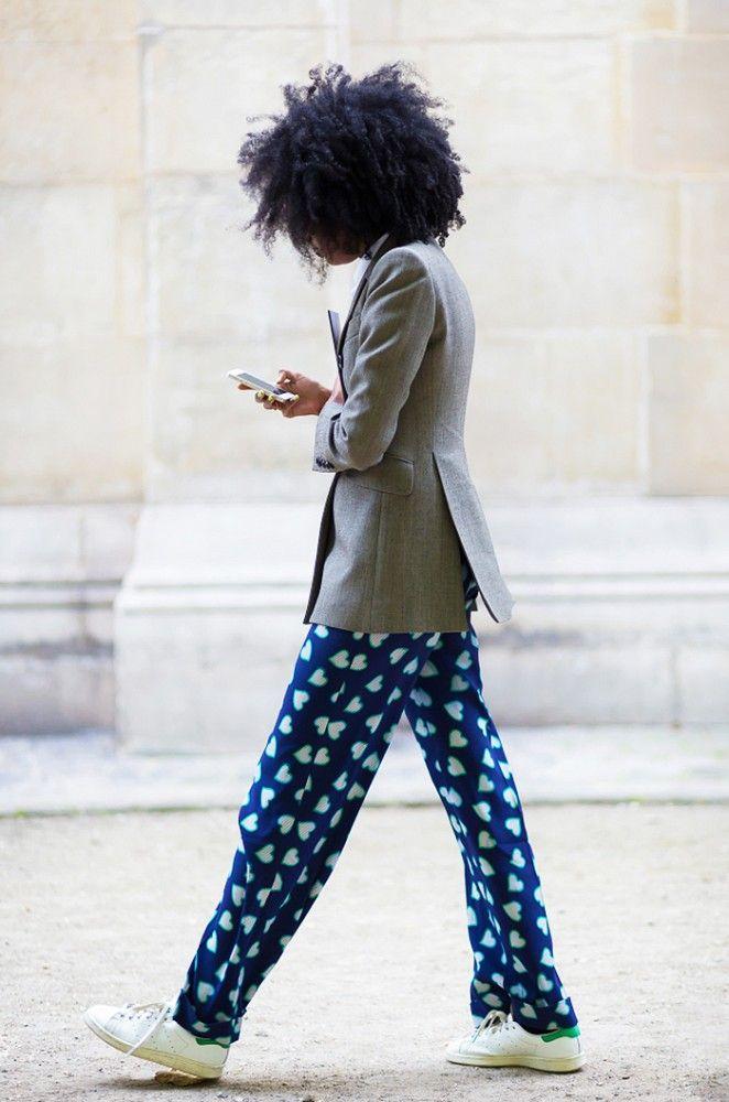 Dress up heart-print pajama pants with a slim blazer.
