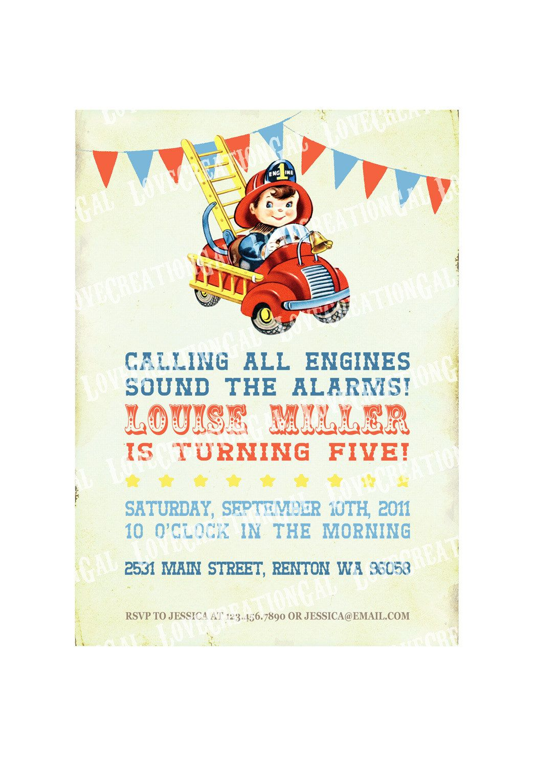 Fire Engine Party Invitation / Firefighter birthday invitation / Boy ...