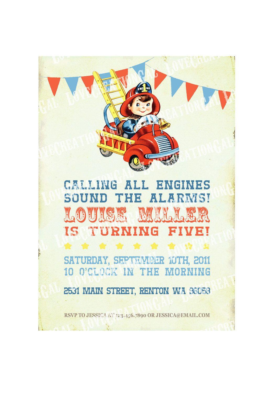 Digital PRINTABLE Vintage Fire Engine Firefighter Celebrate Boy ...