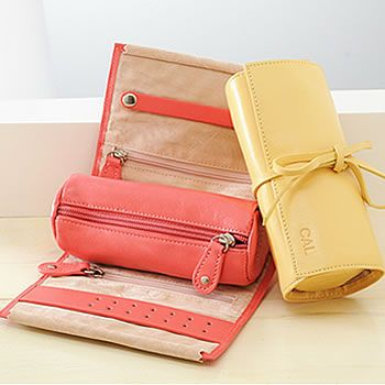 Personalized Leather Jewelry Roll This Compact Case Is Ideal For Travelling