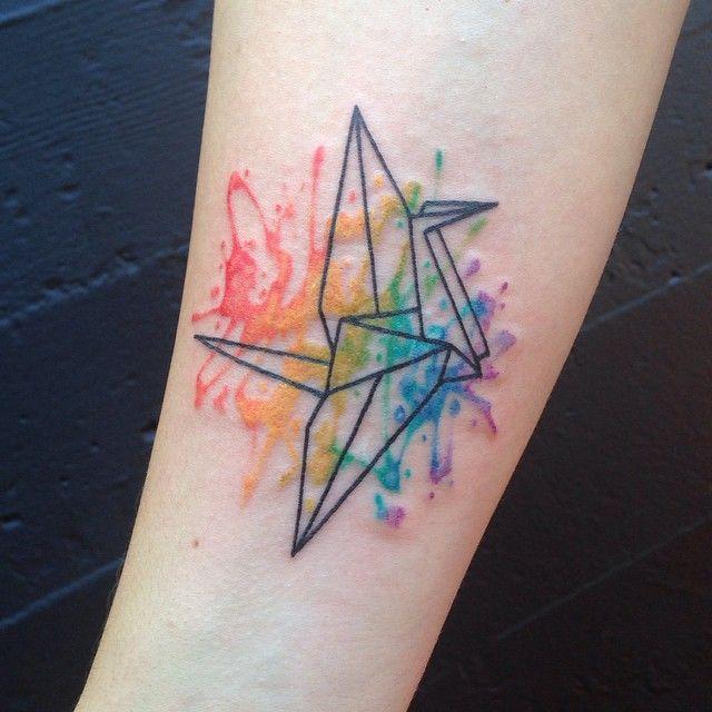 Paper crane tattoo watercolor origami crane watercolor for Paper crane tattoo