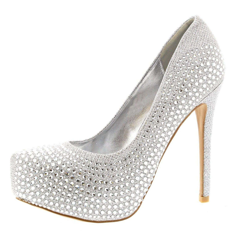 6f3c4842a54 Womens Evening Platforms High Heels Stiletto Diamante Party Court ...