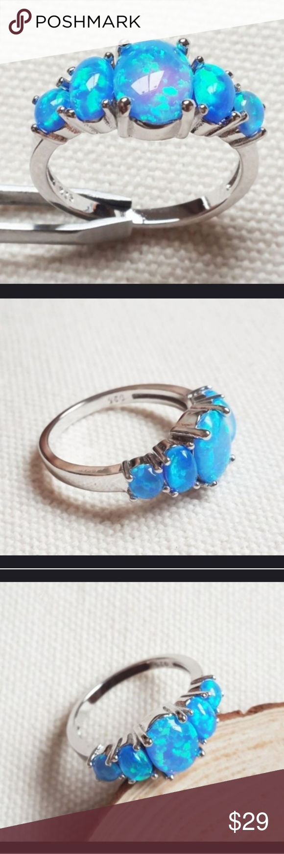 New Blue Fire Opal Sterling Silver Ring Simply Gorgeous Blue Fire Opal 925 Sterling Silver Stamped Great Sterling Silver Rings Fashion Rings Fire Opal