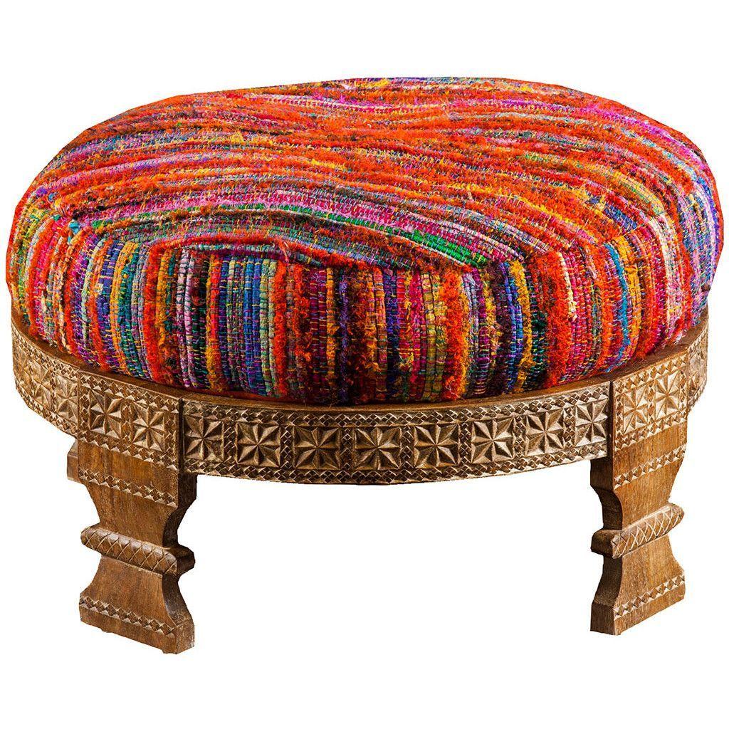 Bohemian Ottoman Red Furniture Upholstered Ottoman Bohemian
