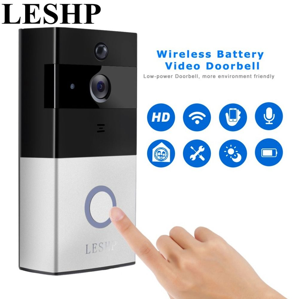 Leshp Video Doorbell 1080p Wireless Wifi Ring Door Bell Hd 2 4g Phone Remote Pir Motion Two Way Talk Home Alarm Securit Doorbell Doorbell Camera Video Doorbell