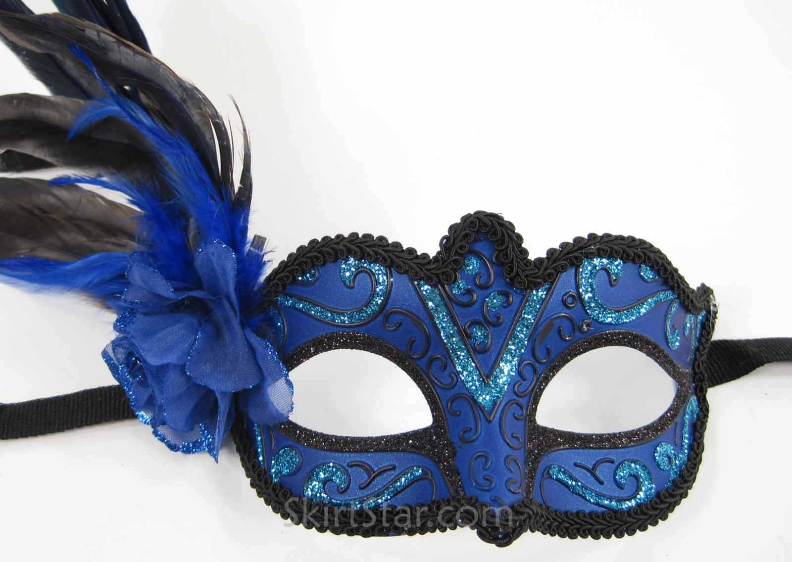 Plain Venetian Masks To Decorate Blue Masquerade Masks For Women With Feathers  Masquerade Mask