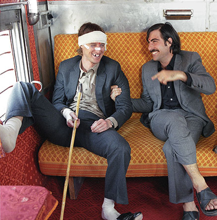 Owen Wilson And Jason Schwartzman On The Set Of The Darjeeling Limited 2007 Wes Anderson Films Wes Anderson Movies Wes Anderson Aesthetic