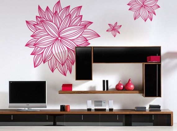Large Flowing Bohemian Flower Decal for Home Dorm by ZestyGraphics ...
