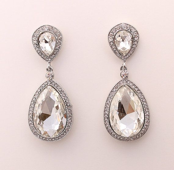 0fe359a906d1 Wedding Earrings Bridal Jewelry Crystal Earrings by annasinclair ...