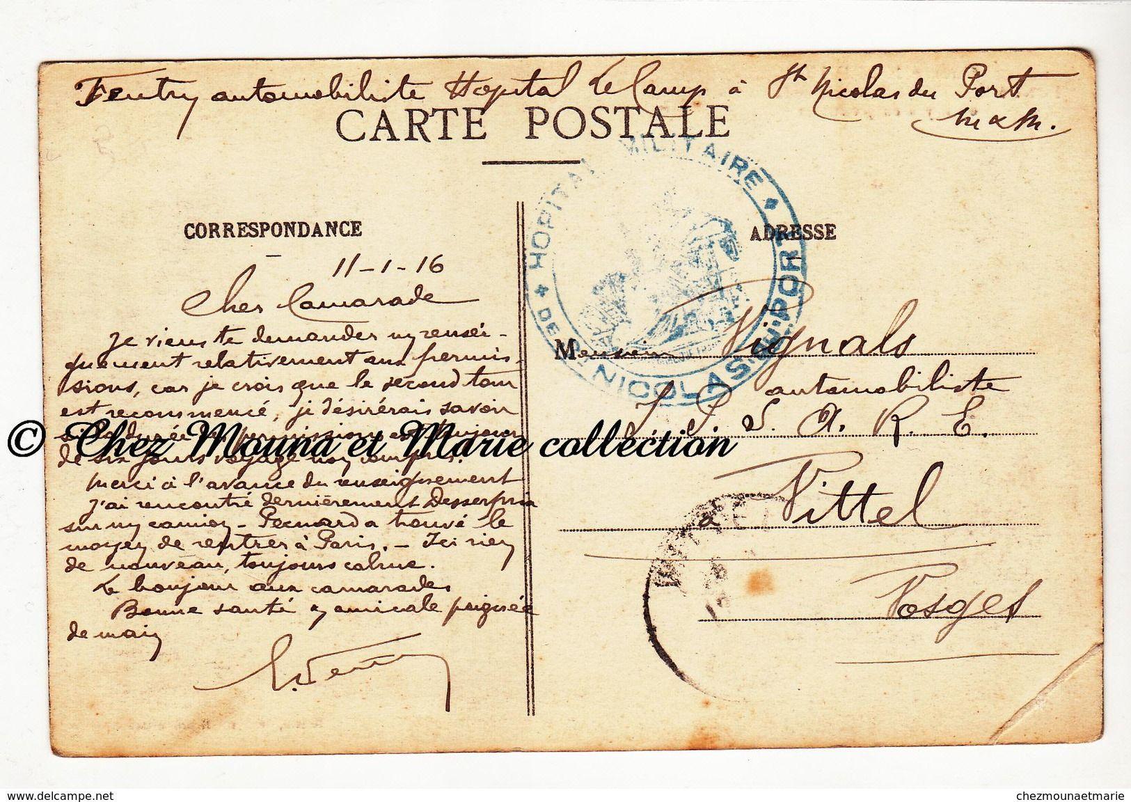 Wwi 1916 tampon hopital de st nicolas du port feutry automobiliste vignals a vittel - Hopital saint nicolas de port ...