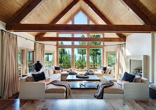 Modern Rustic Mountain Retreat Showcases Sweeping Views Of Lake Tahoe Sunken Living Room Living Room Remodel Room Remodeling