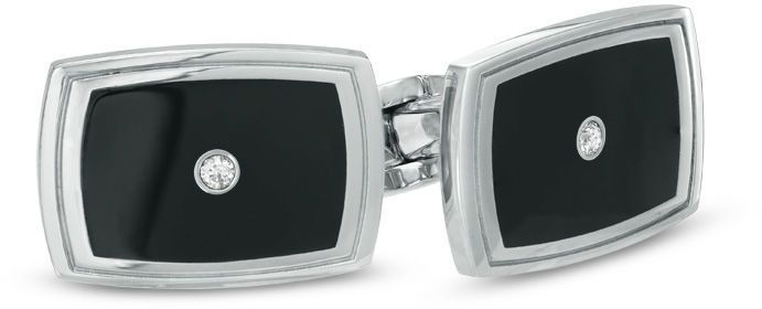 Zales Mens Stainless Steel and Black Enamel Cuff Links with Diamond Accents EbJYp