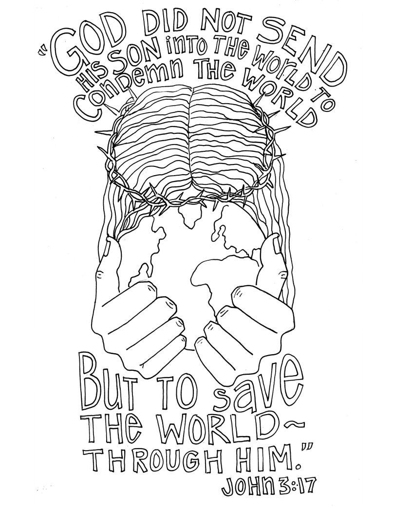 John 3.17 Bible verse coloring, Scripture doodle, Bible