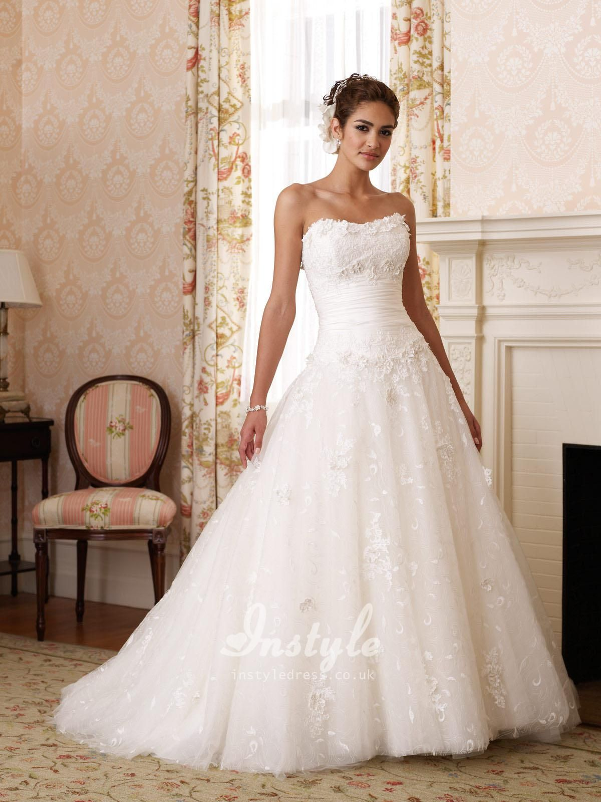 Lace Over Taffeta Strapless Ball Gown Wedding Dress UK | wedding ...