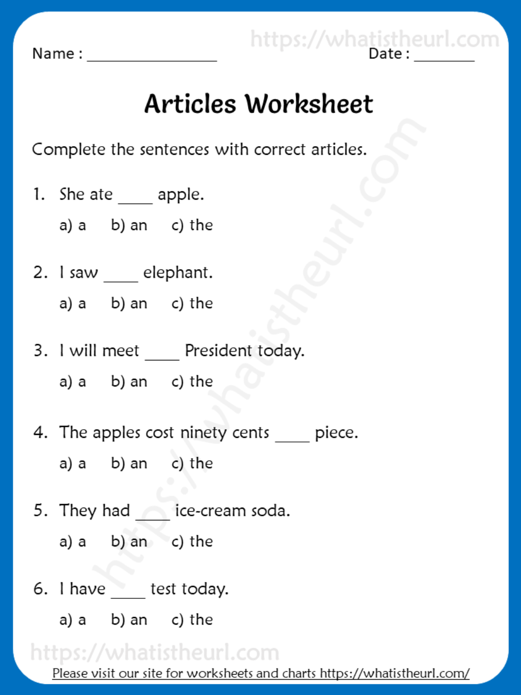Articles Worksheets For 3rd Grade A An The