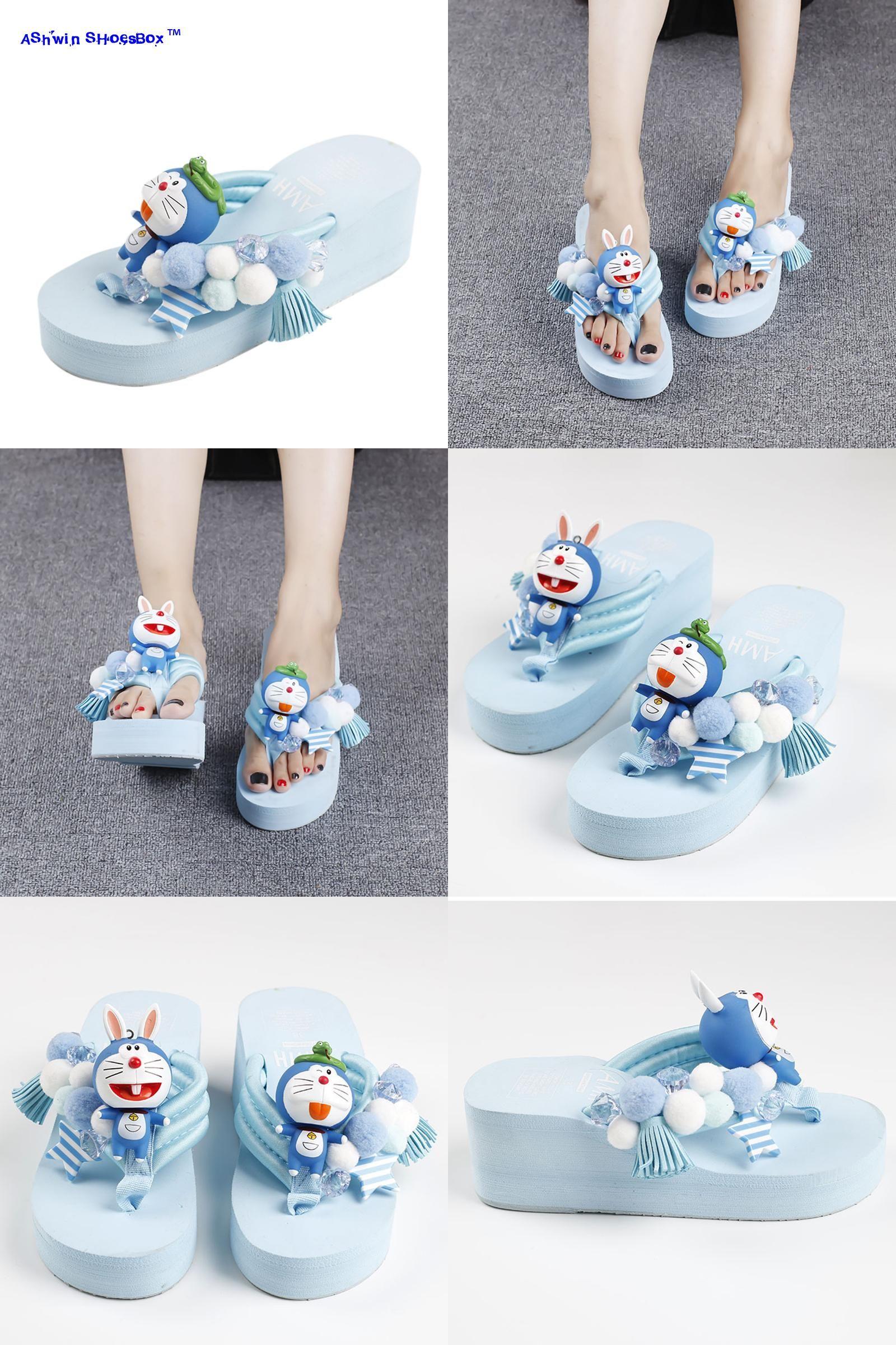 345935ef2c2910  Visit to Buy  summer women thong slippers cartoon doraemon fashion cute  wedge sandals platform