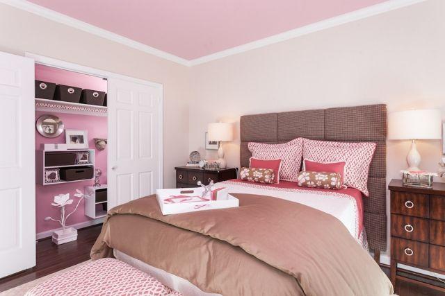 jugendzimmer madchen ideen rosa braun kombo creme wandfarbe hellrosa decke