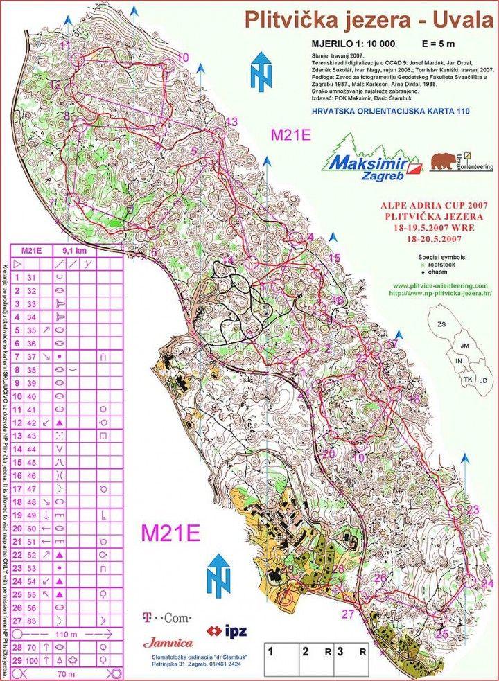 Orienteering Map Plitvicka Jezera Croatia Map Croatia Geography