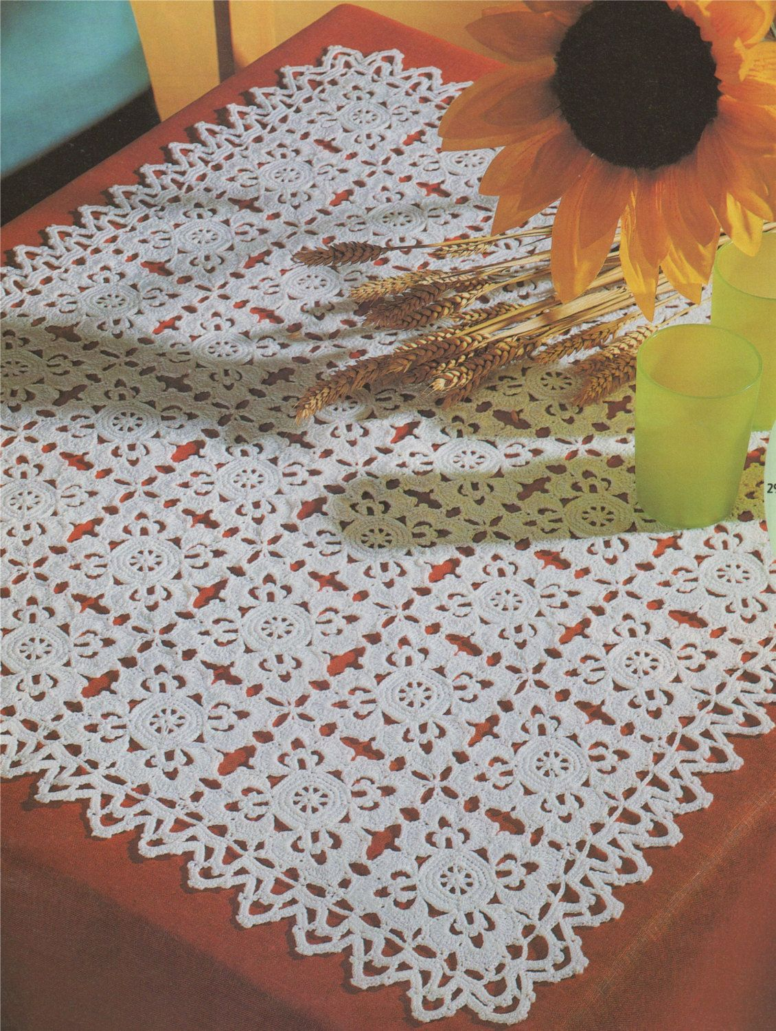 Doily PDF Crochet Pattern : Doiley Mat . Tray Cloth . Small Tablecloth .  Doilies . Instant Digital Download