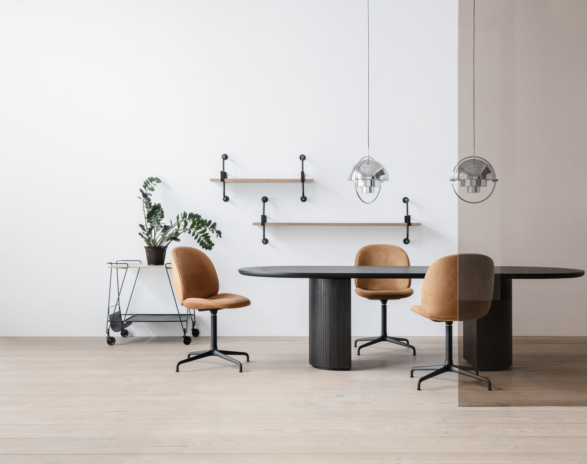 Gubi Beetle Chair Casted Swivel Base Moon Dining Table