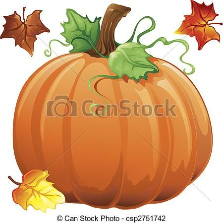 Fall Leaves and Pumpkin Clip Art