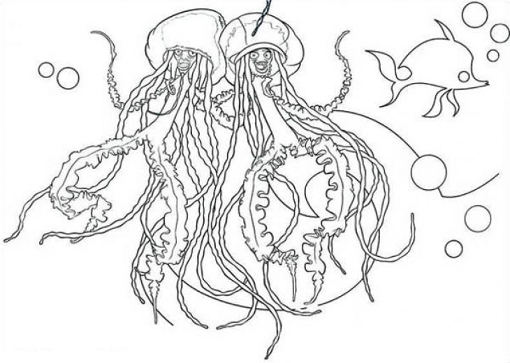 a couple of jellyfish singing and dancing coloring page