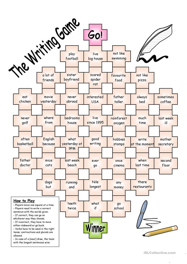 Board Game The Writing Game English Esl Worksheets Writing Games English Grammar Games English Writing [ 1079 x 763 Pixel ]