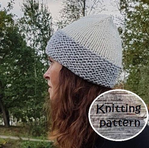 Knitting pattern ribb hat // slouchy hat //PDF pattern ...