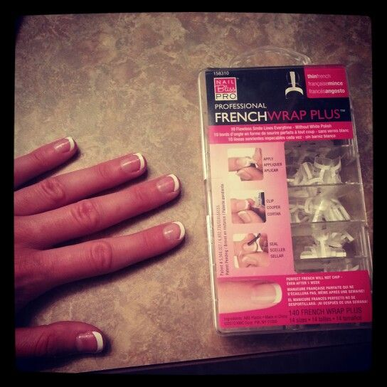DIY French manicure: You have to try these! Super fun! Make sure to purchase nail glue then follow the directions! Beats going and getting a manicure.