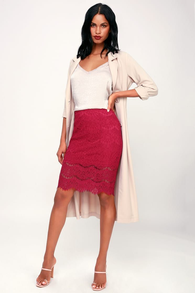 221e588b1820 Kaylee Berry Red Eyelash Lace Pencil Skirt | what to wear? | Skirts ...