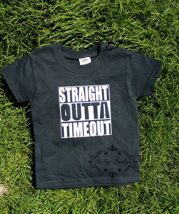 1198a8de STRAIGHT OUTTA TIMEOUT funny Shirt T shirt Toddler Youth Kids Saying Graphic  Shirt
