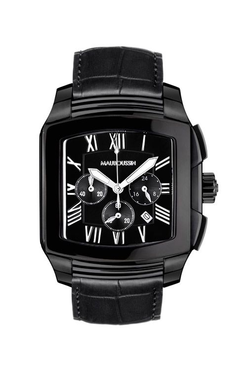 Man Transgression timepiece by Mauboussin. Black chronograph, quartz  movement, black PVD bezel and leather strap. 6d13d16e2403
