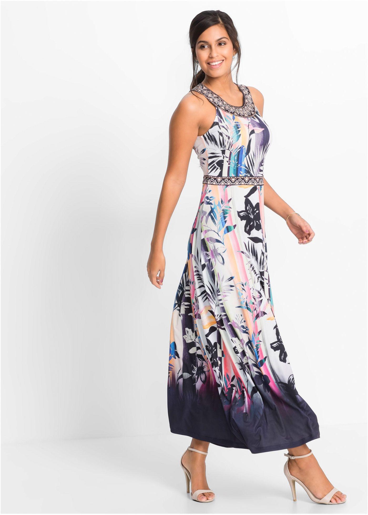 Maxi-jurk wolwit/geel/pink gedessineerd - BODYFLIRT nu in de onlineshop van bonprix.nl vanaf ? 37.99 bestellen. Zomerse maxi-jurk met print all-over. De ...