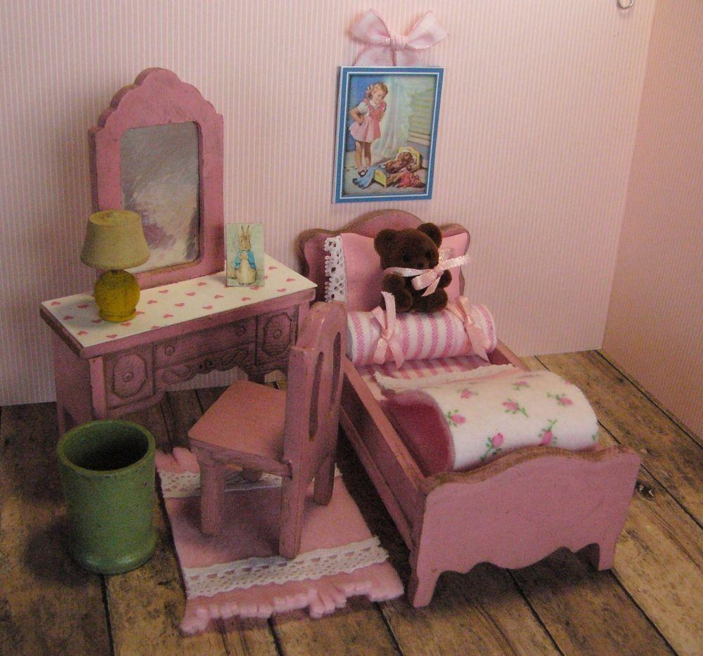 Strombecker BEDROOM SET, Vintage Wooden Dollhouse Furniture, 1:16  #Strombecker