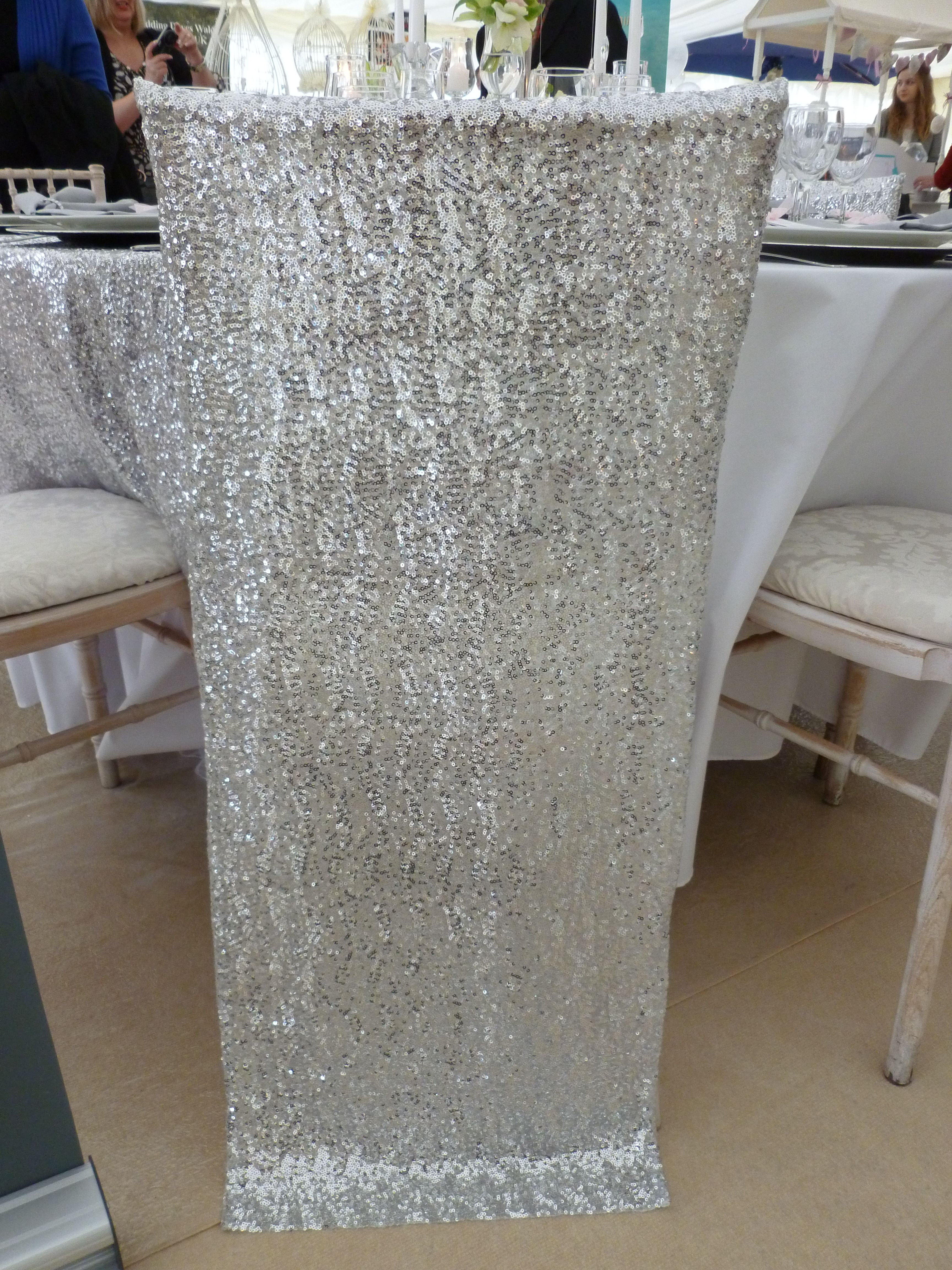 Sequin chair veil designed and supplied by Simply Bows and Chair