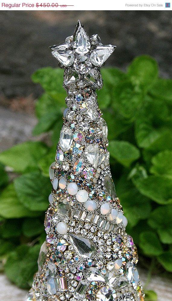 Custom for PJ Gorgeous Vintage Rhinestones Jewelry Crystals Christmas Tree with Star - Original ...