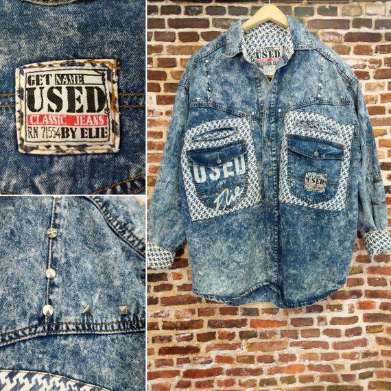 90d4efed3 Get Used by Elie Vintage 80s Denim Jacket Shirt Men s Acid Wash Jean ...