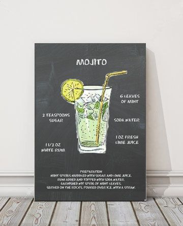 Typography Print Mojito Recipe Cocktail Recipe Kitchen Print Chalkboard Art Modern Calligraphy Mojito Mojito Recipe Mojito Cocktail